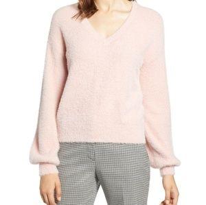 Halogen Blush Fuzzy Soft V Neck Sweater